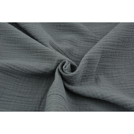 Double gauze 100% cotton plain dark gray 2