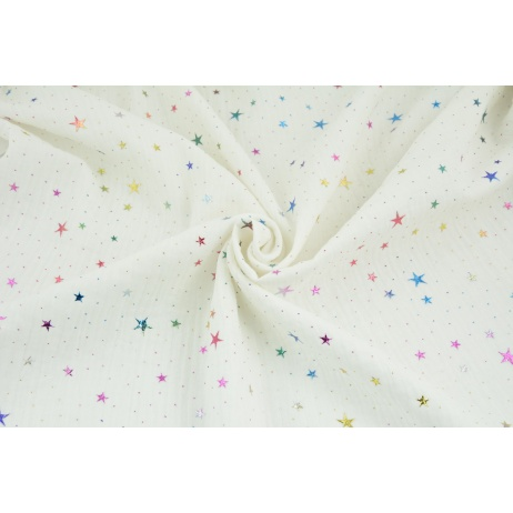 Double gauze 100% cotton colorful stars, dots on an ecru background