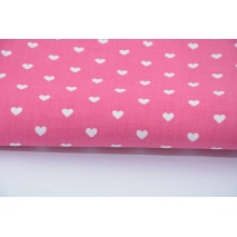 Cotton 100% white hearts on a fuchsia background 155 cm