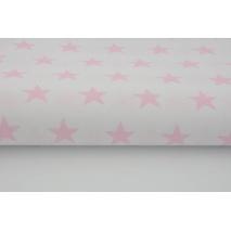 Bawełna 100% biała w gwiazdki pastelowy róż 2,5cm 155 cm