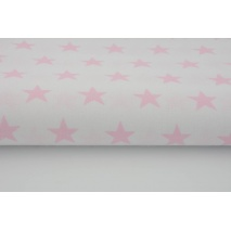 Cotton 100% pink stars 25mm on a white background 155 cm