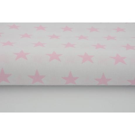 Bawełna 100% biała w gwiazdki pastelowy róż 2,5cm