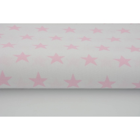 Cotton 100% pink stars 25mm on a white background