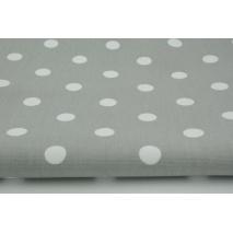 Gruba tkanina HOME DECOR kropki 17mm na jasnoszarym tle