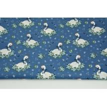 Bawełna 100% łabędzie wśród kwiatów na ciemnoniebieskim tle, popelina