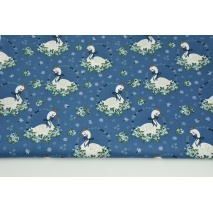 Cotton 100% swans among the flowers on a dark blue background, poplin