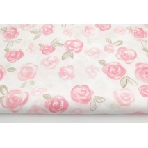 Cotton 100% coral rose painted roses on a white background II quality