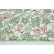 Dzianina 100% bawełniana tropikalne kwiaty różowo-zielone na białym tle