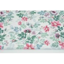 Bawełna 100% polne kwiaty na białym tle DRUK CYFROWY