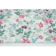 Cotton 100% field flowers on white background DIGITAL PRINT
