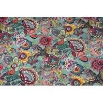 Home Decor, oriental flowers on a turquoise background 220g/m2