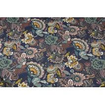 Home Decor, orientalne kwiaty na śliwkowym tle 220g/m2