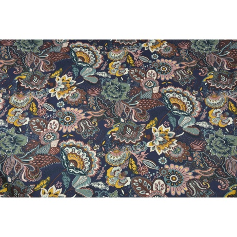 Home Decor, oriental flowers on a plum background 220g/m2