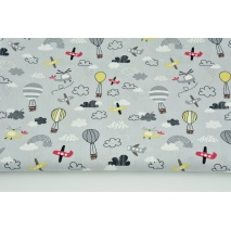 Cotton 100% small planes, baloons on a light gray background, poplin