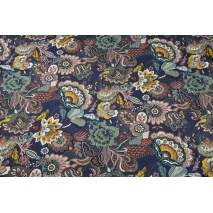 Cotton 100% oriental flowers on a plum background
