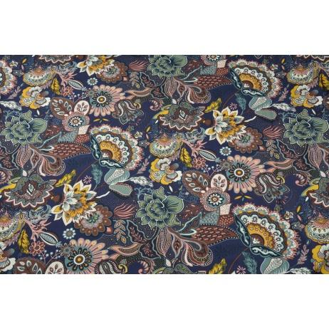 Bawełna 100% orientalne kwiaty na śliwkowym tle