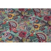 Bawełna 100% orientalne kwiaty na turkusowym tle