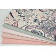 Cotton 100% oriental flowers on a powder pink background