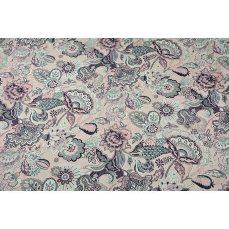 Bawełna 100% orientalne kwiaty na pudrowym różu