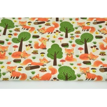 Cotton 100% orange foxes in the forest on a cream background
