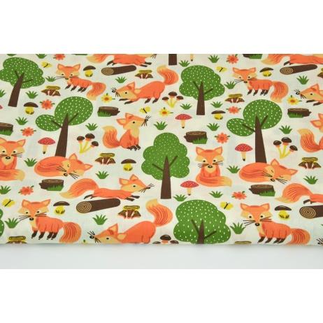 Bawełna 100% pomarańczowe liski w lesie na kremowym tle