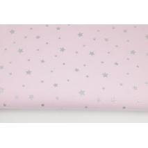 Bawełna 100% srebrne gwiazdki na różowym tle II jakość