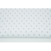 Double gauze 100% cotton, small navy anchors on a white background