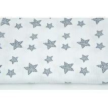 Double gauze 100% cotton, navy blue stars with dots on a white background
