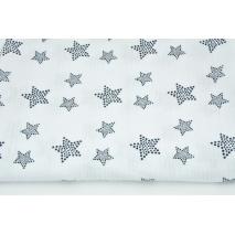 Muślin bawełniany, granatowe gwiazdy w kropki na białym tle