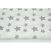 Double gauze 100% cotton, navy blue stars with dots on an ecru background