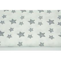 Muślin bawełniany, granatowe gwiazdy w kropki na ecru