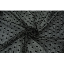 Tiul w puszyste kropki czarno-srebrny