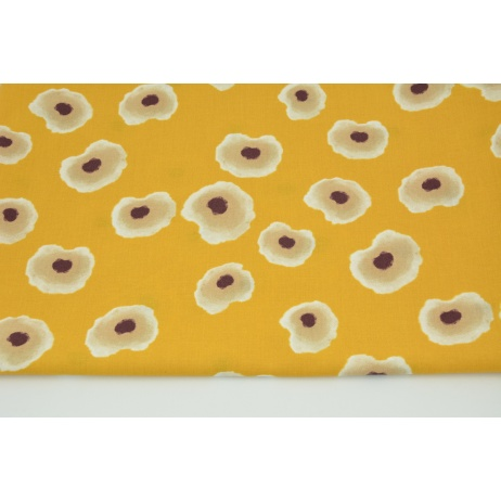 Cotton 100% painted spots on a yellow-orange background