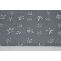 Double gauze 100% cotton, white stars with dots on a dark graphite background