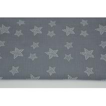 Muślin bawełniany, białe gwiazdy w kropki na ciemnym grafitowym tle