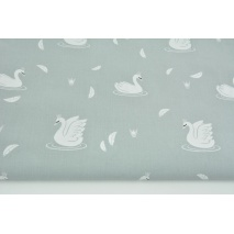 Cotton 100% swans in silver crowns on a light gray background