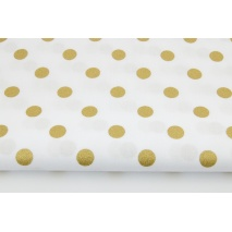 Bawełna 100% złote kropki 15mm na białym tle II jakość