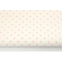 Bawełna 100% różowe kropki 4mm na kremowym tle