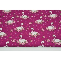 Cotton 100% swans among the flowers on an amaranth background, poplin