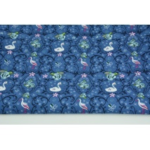 Cotton 100% swans and herons on a dark blue background, poplin