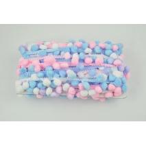 Tasiemka z pomponami ombre niebiesko-różowa - podwójne nitki