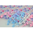 Ombre ribbon with small pom poms blue-pink - double thread