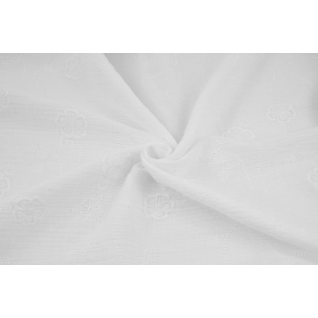 Muślin bawełniany haftowany w duże kwiaty, biały
