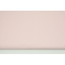 Oilcloth coated cotton, 1mm white stripes on a pink background