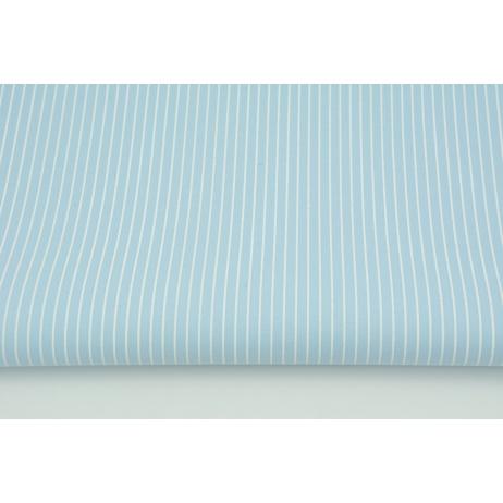 Bawełna powlekana ceratą, białe paski 1mm na niebieskim tle