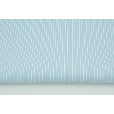 Oilcloth coated cotton, 1mm white stripes on a blue background