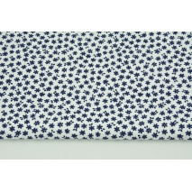 Cotton 100% small navy flowers on a white background CZ