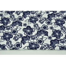 Cotton 100% navy flowers, butterflies on a white background CZ