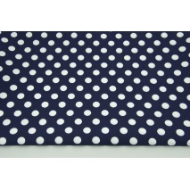 Cotton 100% white 12mm dots on a navy blue background CZ