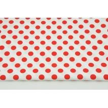Bawełna 100% czerwone kropki 13mm na białym tle CZ